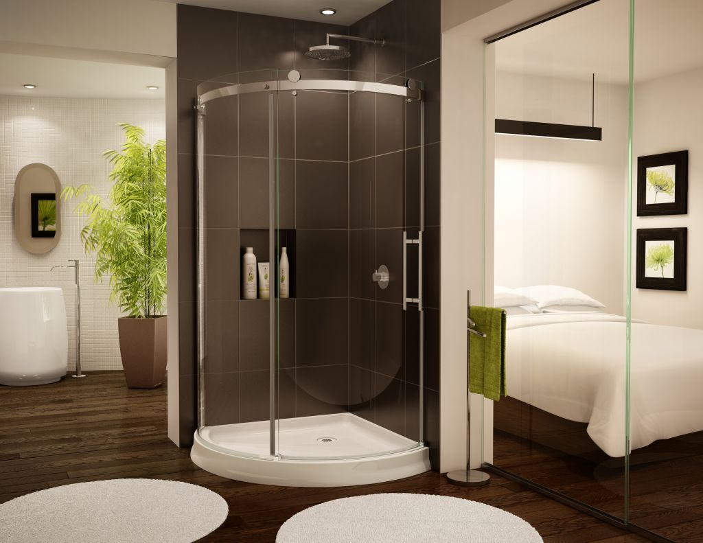 curved shower glass